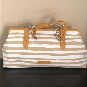 BCBG canvas striped bag perfect condition